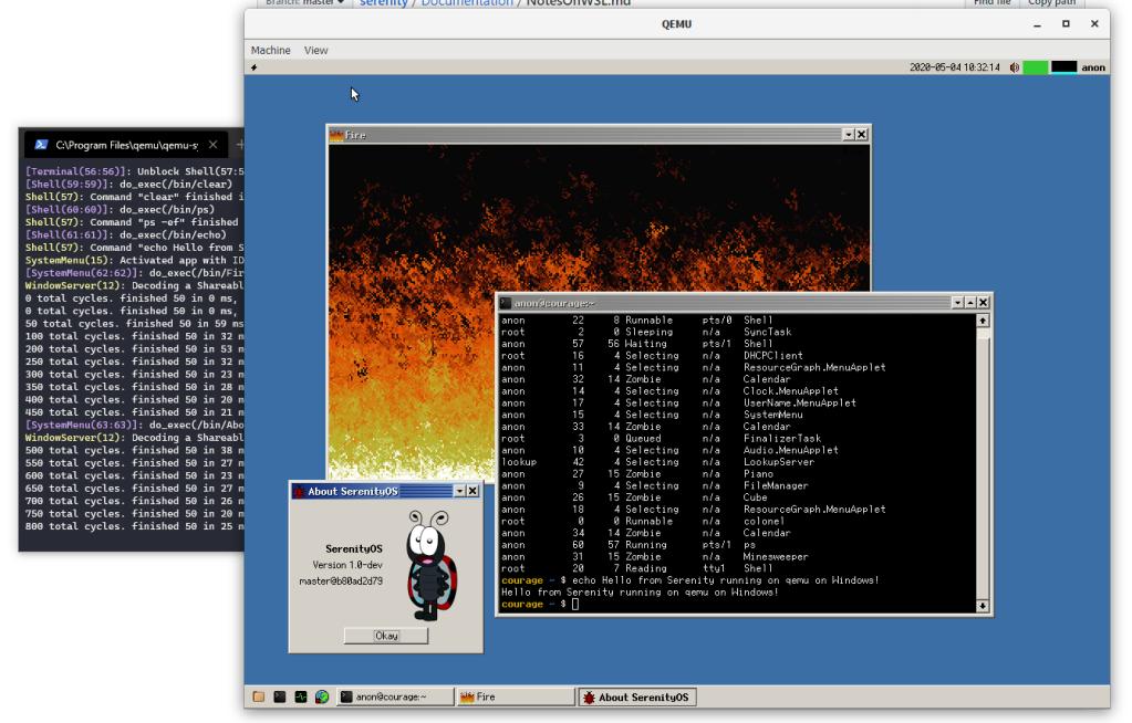 Screenshot of Serenity running on QEMU on Windows